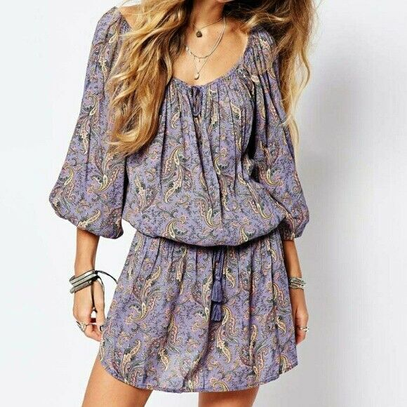 Ralph Lauren denim supply paisley Long Sleeved Casual Dress Size Size Size S BNWOT 9fd29e