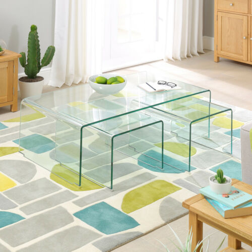 Geo-Glass Coffee Table with 2 Nest Tables - Clear Modern Living Side Lamp - GG93