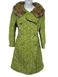 VINTAGE-Mod-60-039-s-Green-Brocade-Tapestry-Mink-Fur-Collar-Union-Made-Coat-Jacket-S