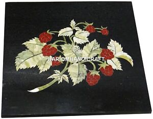 Marble-Black-Coffee-Table-Top-Grapes-Inlay-Mosaic-Arts-Marquetry-Decorated-H2985