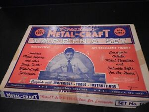Vtg-1949-Boys-METALCRAFT-TAPPING-SET-No-1M-w-Steel-Tools-Copper-Materials-amp-Box