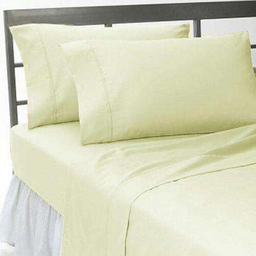 Best Linen 1 PC Fitted Sheet Egyptian Cotton Solid//Stripe Colors US Sizes