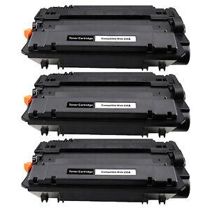 3pk Compatible CE255A 55A Toner Cartridge For HP  Laserjet P3010 P3015 P3015dn
