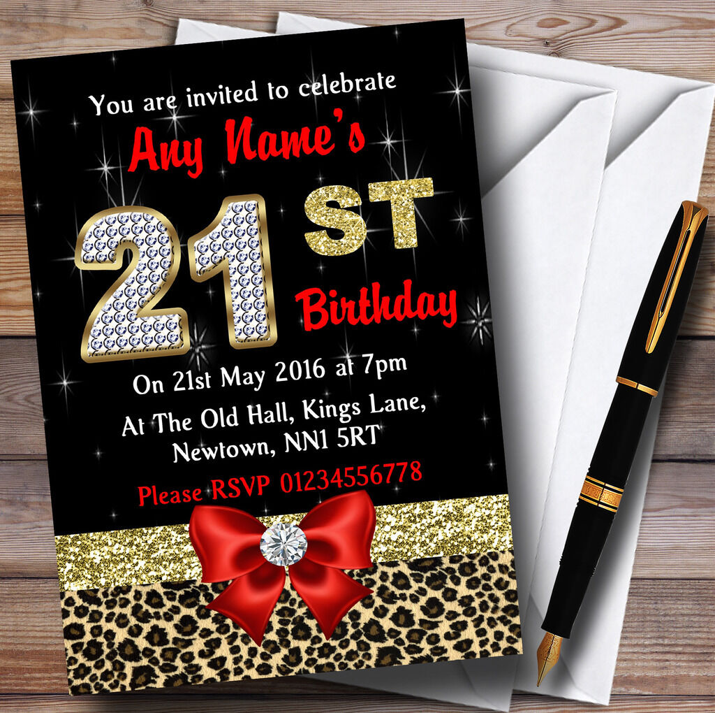 rot Diamond And Leopard Print 21St Birthday Party Personalised Invitations