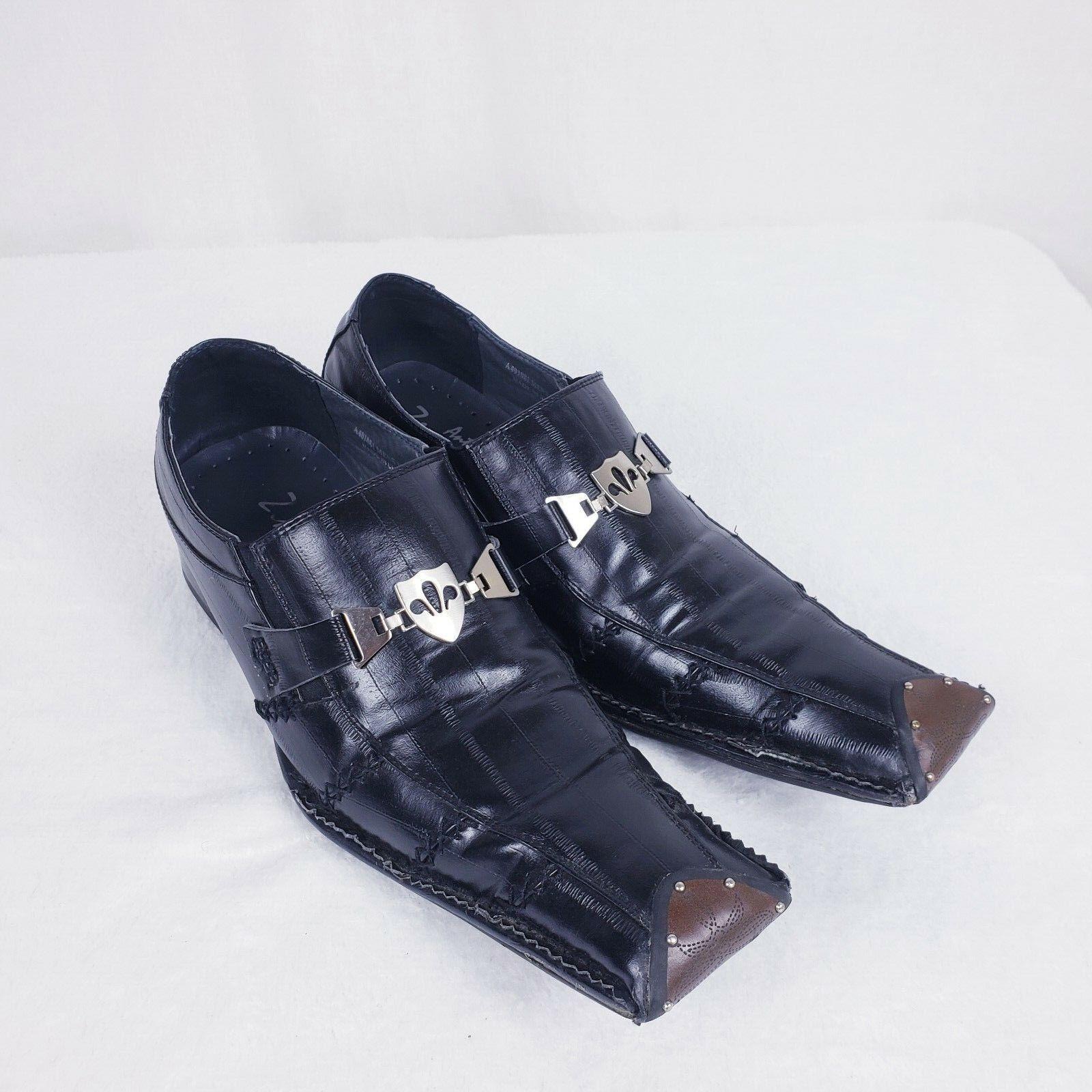 Antonio Zengara Sz 10 M Slip On Black Leather shoes Studs Square Toe Horse Bit