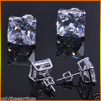 Mens & Ladies 2.25 CTW Simulated Lab Diamond Screw Back Square Stud Earring 8mm