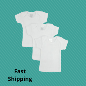 3-Pack-White-Preemie-Short-Sleeve-Lap-Tee-for-Infant-Baby-Newborn-100-Cotton