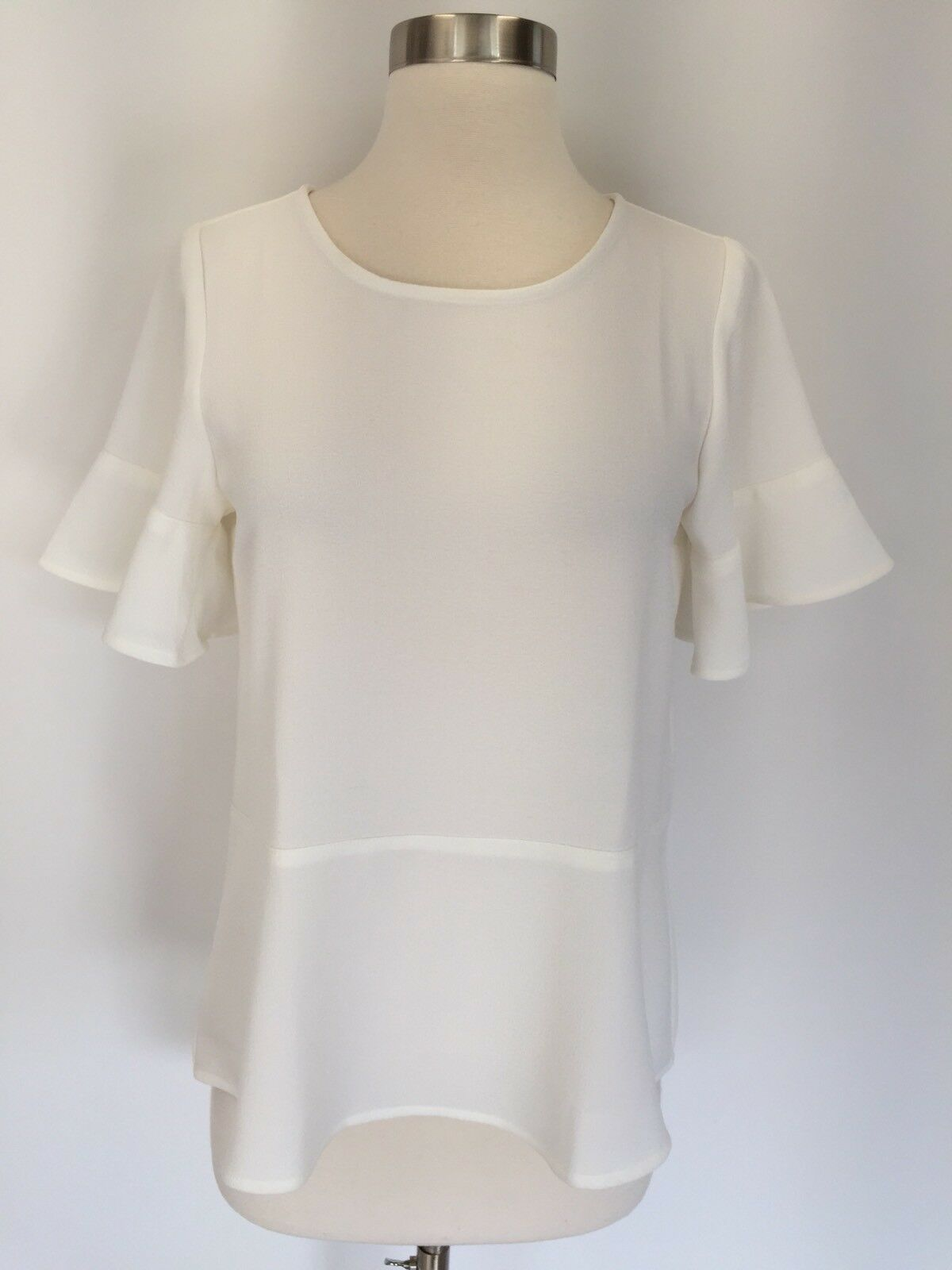 New Madewell Flare Hem Top Blouse Größe XXS Ivory Weiß Sold Out H2874