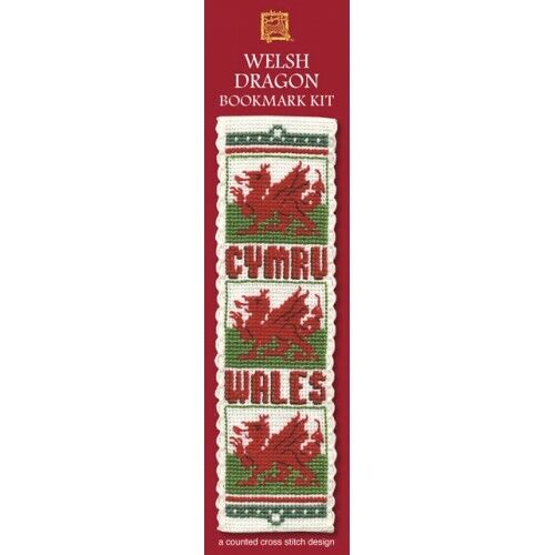 Bookmark Textile Heritage Counted Cross Stitch Kit Welsh Dragon