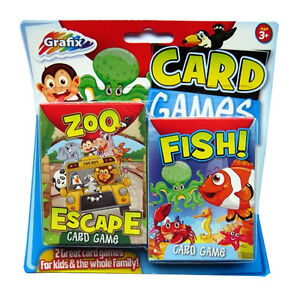 children s card games pack of 2 zoo escape fish ebay