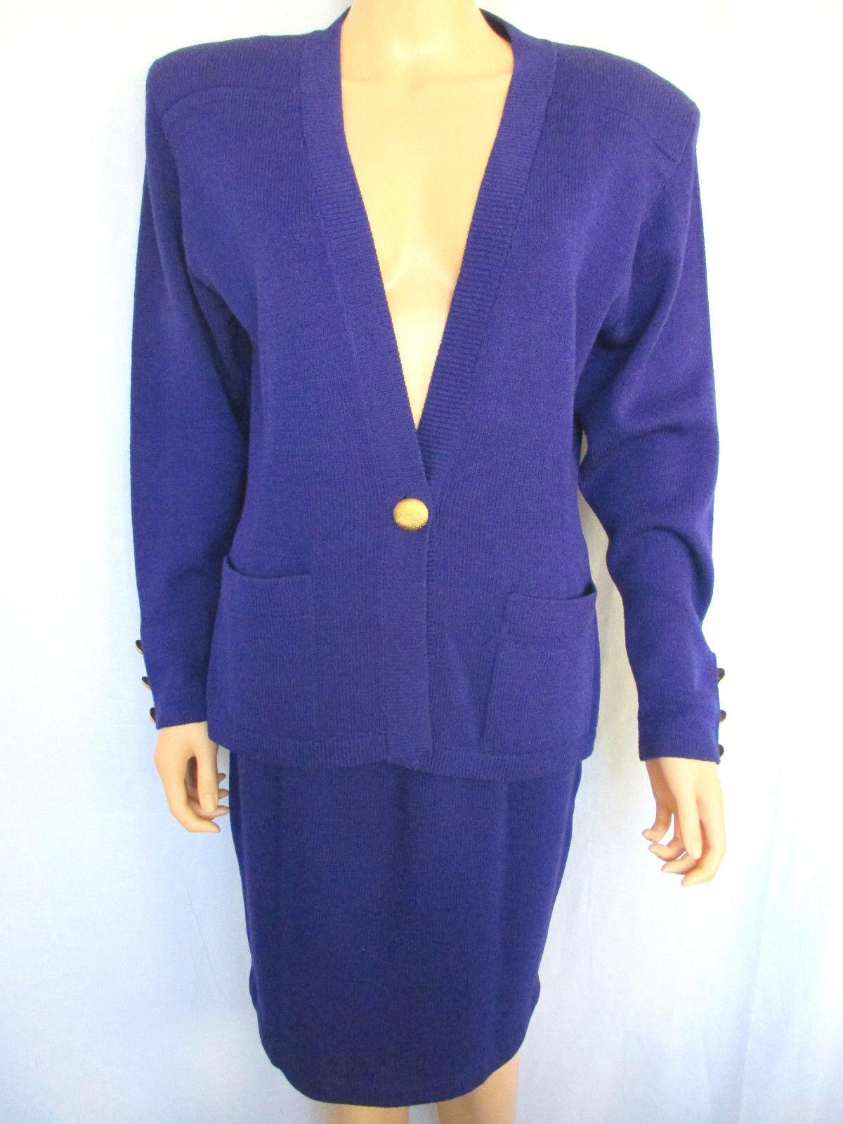 St. John Women's Sweater & Skirt Suit Set Purple Sweater Large Skirt Size 8