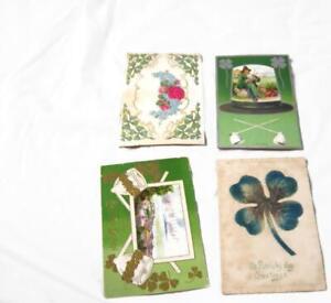 4-Antique-St-Patrick-Irish-Postcards-Shamrocks-4-Leaf-Clover-Pipes