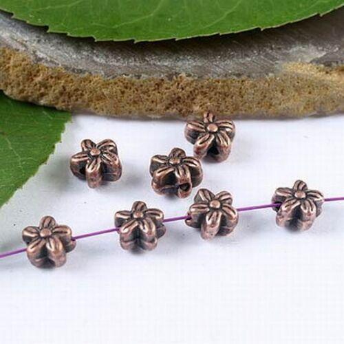 50pcs Copper Tone Plum Flower Spacer Beads H1916