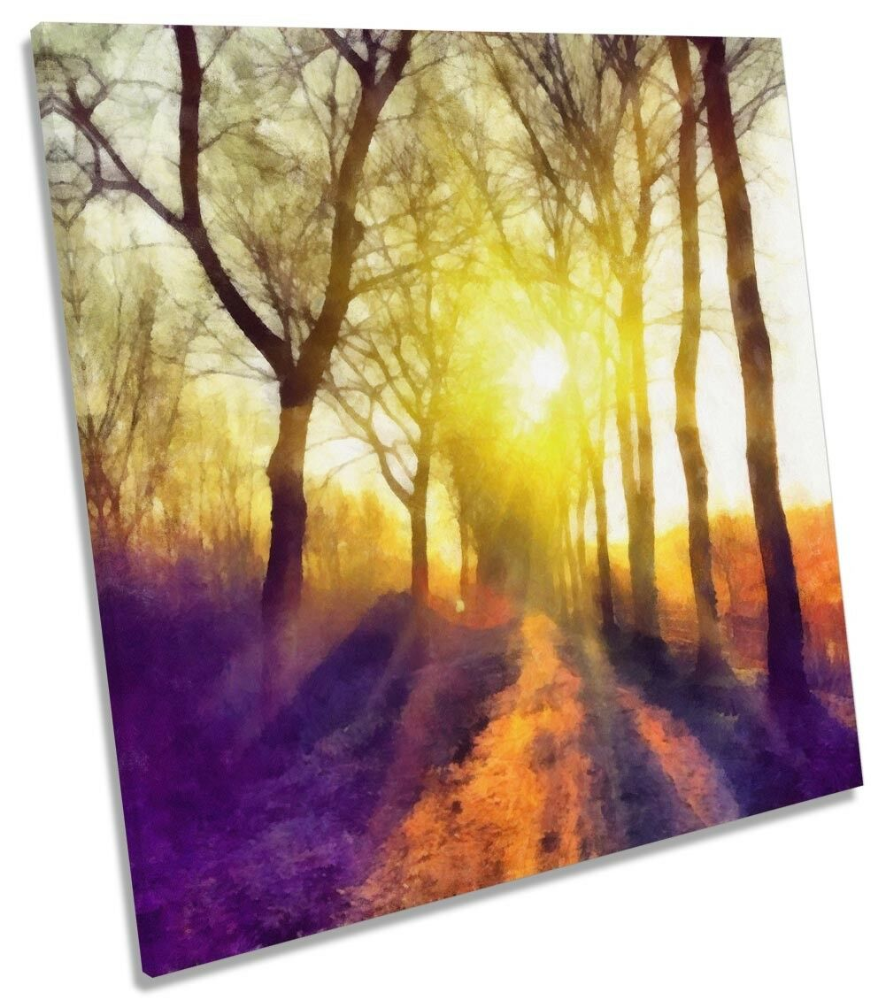 Sunset Forest Path Repro CANVAS WALL ARTWORK Square Art Print