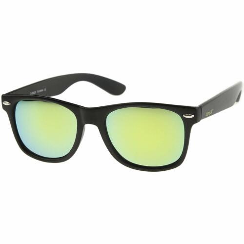 Zerouv Retro 80/'S Classic Colored Mirror Lens Square Horn Rimmed Sunglasses Fo