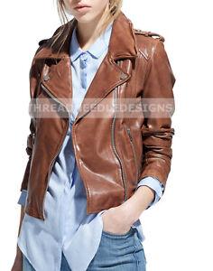 Women-039-s-Genuine-Leather-Motorcycle-Slim-Fit-Brown-Biker-Jacket
