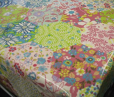 Hexagon PATCHWORK  Cotton WIPE CLEAN Tablecloth Oilcloth  Many Sizes Available