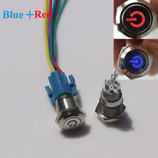 Red+Blue LED 16mm 12V Car  Metal Push Button Toggle Switch With Socket Sale
