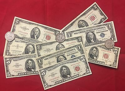 $2.00 Red Seal $1.00 Blue Seal /& $5.00 Blue Seal Paper Money Collection.