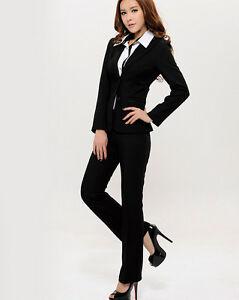 Caricamento dell immagine in corso Tailleur-completo-donna-nero -doppio-bottone-giacca-manica- 85de3f0bd92