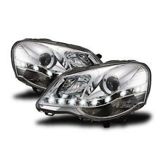 LED Headlights in Chrome finish LED DRL optics for VW Polo 9N3 05-09