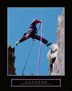 Details About Success Motivational Rock Climbing Leaping Over A Chasm Poster Print