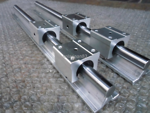16MM SBR16-550mm LINEAR SLIDE GUIDE SHAFT 2 RAIL+4 SBR16UU BEARING BLOCK CNC set