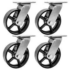 4 Pack 5 Vintage Caster Wheels Swivel Plate Black Iron Casters No Brake