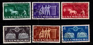Lussemburgo 1951 MER. 478-483 timbrato 100% 80 C, 1. 2. 2.5. 3. 4 FR, europei