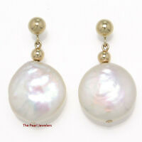Tpj 14k Yellow Gold 3mm Ball; Genuine White Coin Cultured Pearl Dangle Earring