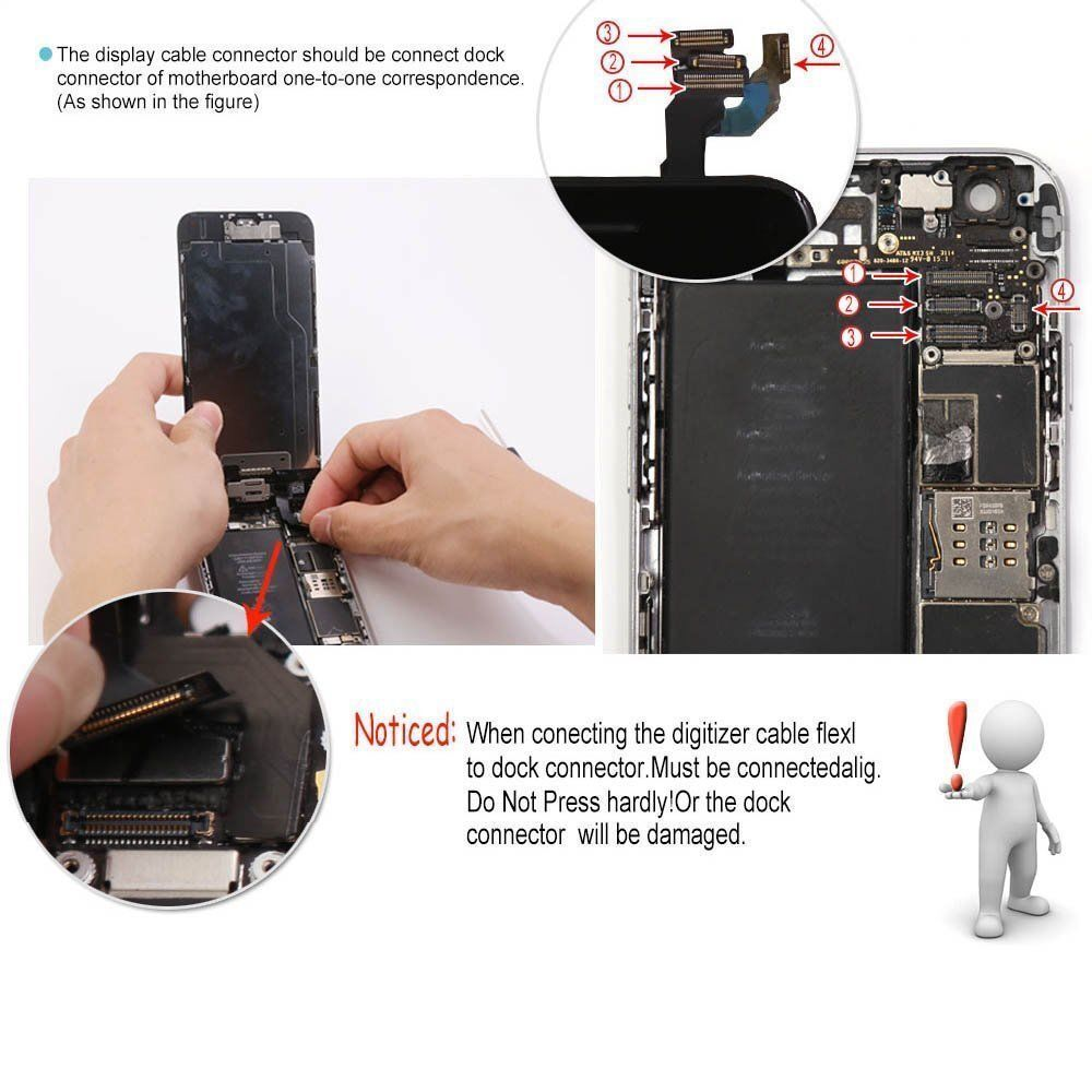 For iPhone 6S 8 6 7 Plus LCD Dispaly Touch Screen Complete Replacement + Button 3