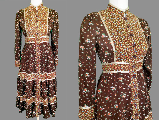 Gunne Sax Dress Brown Calico Button Front Prairie… - image 1