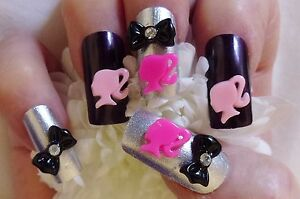 3D-Acrylic-Nail-Art-Pink-amp-White-Barbie-amp-Rhinestone-Bows-Kawaii-Nail-Craft
