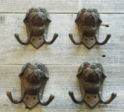 4 DOG HEAD COAT HOOKS HAT LEASH ST BERNARD CLOSET ENTRY WAY GARAGE MUD ROOM