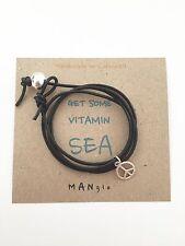 Black Leather Mens Ladies Surfer Peace Wrap Cuff Bracelet Anklet + Surf Card