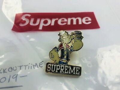 Authentic Supreme Popeye Pin Box Logo Rare New