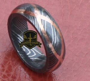 Handmade Damascus Steel Copper inlay Wedding ring men Damascus