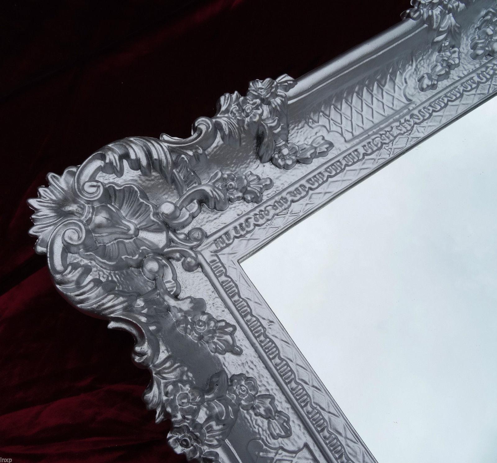 Specchio muro argento 96x57 oggetto d 39 antiquariato barocco for Specchio barocco argento