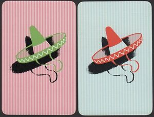 Pair-Playing-Cards-2x-Single-Card-Old-Vintage-MEXICAN-SOMBRERO-HAT-Art-Picture