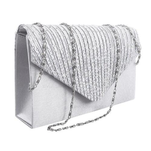 Damen Mode Satin Umschlag Diamant Kristall Spitze Clutch Tasche Vincenza UK