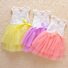 Kids Party Princess Flower Girls Sleeveless Tulle Dress Sequins Bow Tutu Skirts