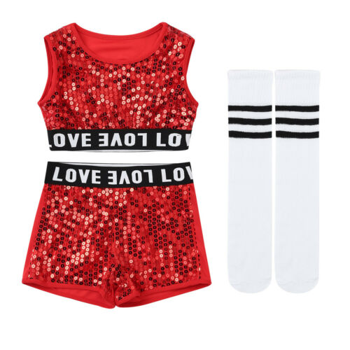 Kids Girls Cheerleader Costume Outfit Stage Show Street Hip Hop Jazz Dance Wear
