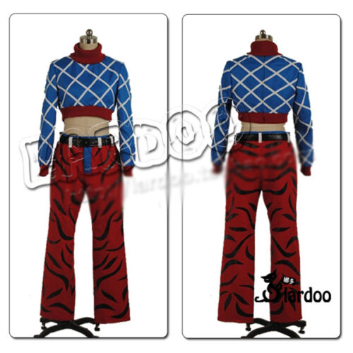 JoJo/'s Bizarre Adventure GUIDO MISTA Cosplay Costume Blue Tops Red Pants