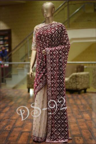Indian Pakistani Beautiful Velvet Saree Bollywood Bridal Wedding Wear Sari
