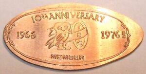 10 ANNIVERSARY 1966-1976 TEC MEMBERSHIP COIN Elongated CENT KIR-43