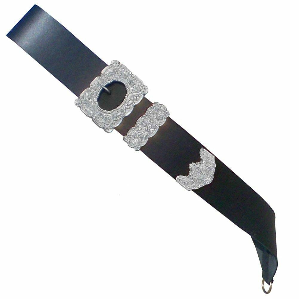 Drummer Cross Belt, Thistle Chrome Buckle Real Black Leather