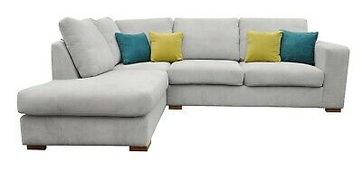 Corner Sofa Dakota Grey Cream Brown Fabric Left Hand Side Brand New Ebay