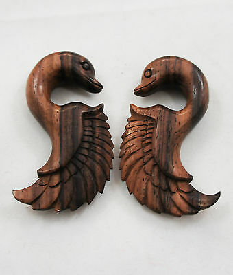 Sono Wood Organic Swan Bird Wing Hanger Hand-Carved Natural Winged Gauge 6G-00G