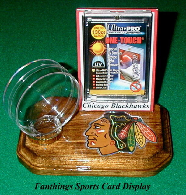 Chicago Blackhawks NHL Sports Card Display Hockey Puck Holder Logo Display Gift