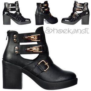 negro botines con con mujer para y Chelsea botines Botines tachuelas hebillas Patentado Croc y Chelsea qw806Bg0FW